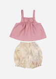 BOW FRONT TOP AND BLOOMER, DUSTY ROSE & FLORAL
