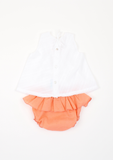 Smocked Scattered Roses Top & Bloomer, White & Coral