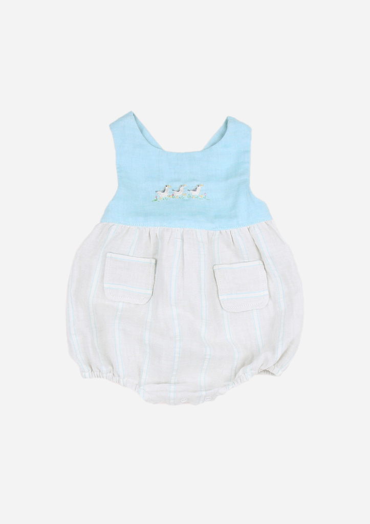 Marching Ducks Romper, Mint Stripe