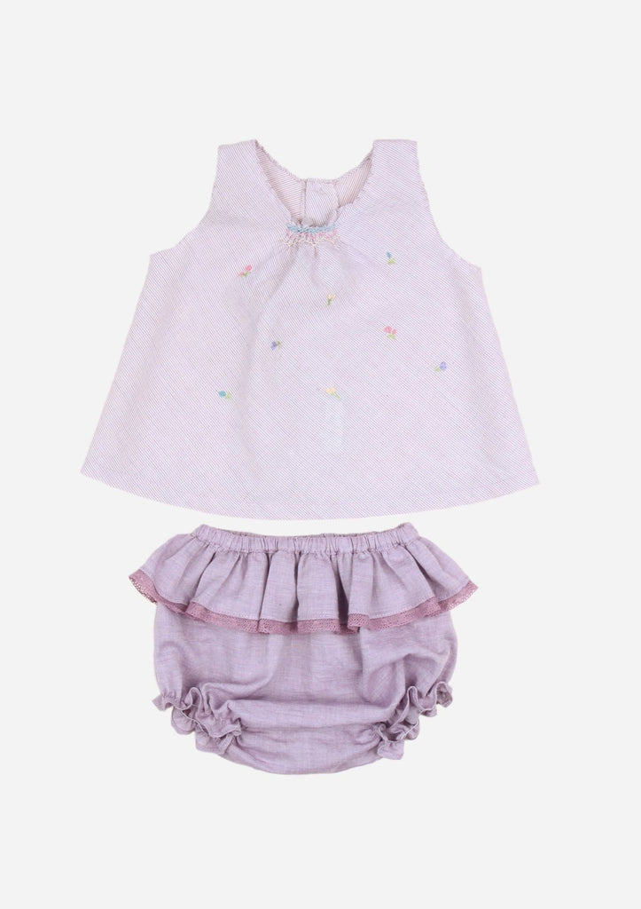 Smocked Scattered Flower Top & Bloomer, Purple Stripe