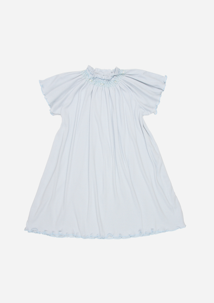 Flutter Sleeve Smocked Rib Day Gown, Sky Blue