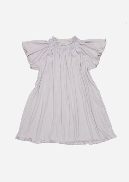 Short Sleeve Smocked Rib Day Dress, Slate