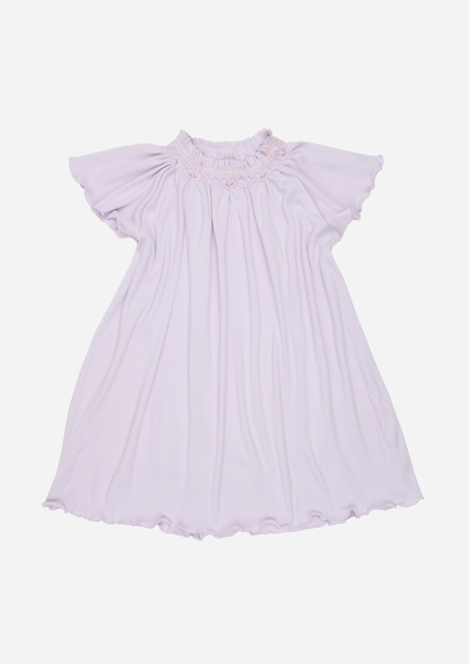 Flutter Sleeve Smocked Rib Day Gown, Lavender