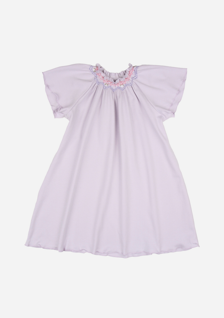 Flutter Sleeve Smocked Day Gown, Lavender