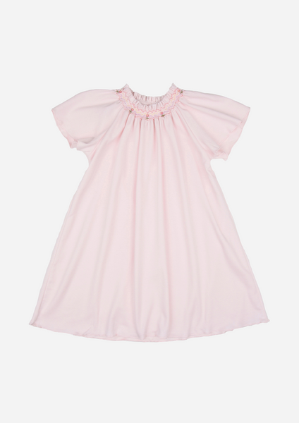 Flutter Sleeve Smocked Day Gown, Blush