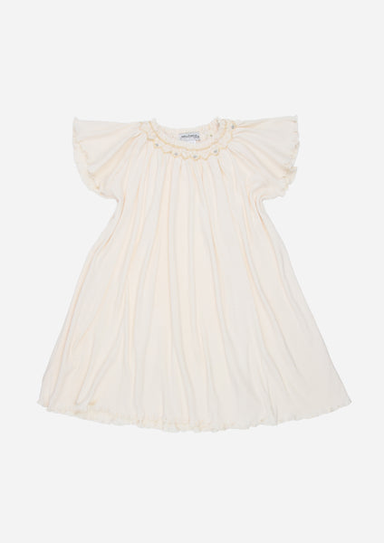 Short Sleeve Smocked Rib Day Dress, Ecru