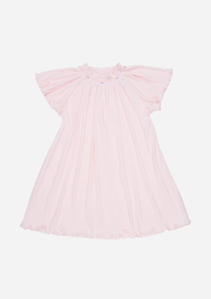 Flutter Sleeve Smocked Rib Day Gown, Blush
