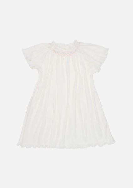 Flutter Sleeve Smocked Rib Day Gown, White