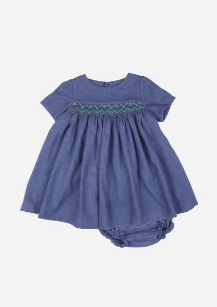 Short Sleeved Smocked Heirloom Dress, Cerulean