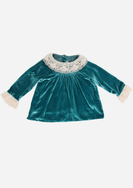 Silk Velvet Heirloom Top with Lace Collar, Teal