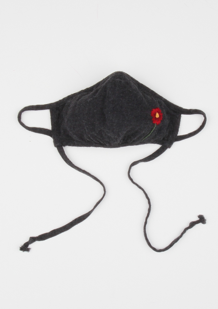 """Be Safe. Be Kind"" Hand Embroidered Heirloom Mask, Adjustable - The Poppy, Charcoal"