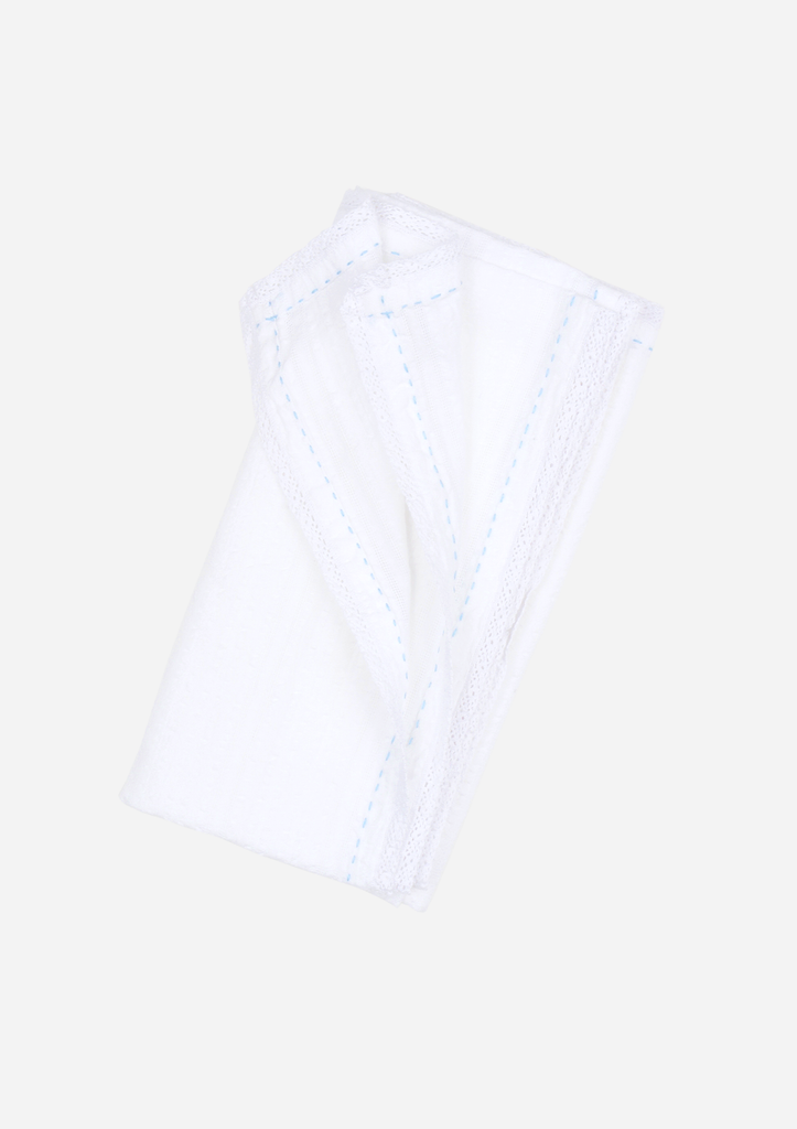 Classic Heirloom Swaddle, White with Blue Stitching and Lace
