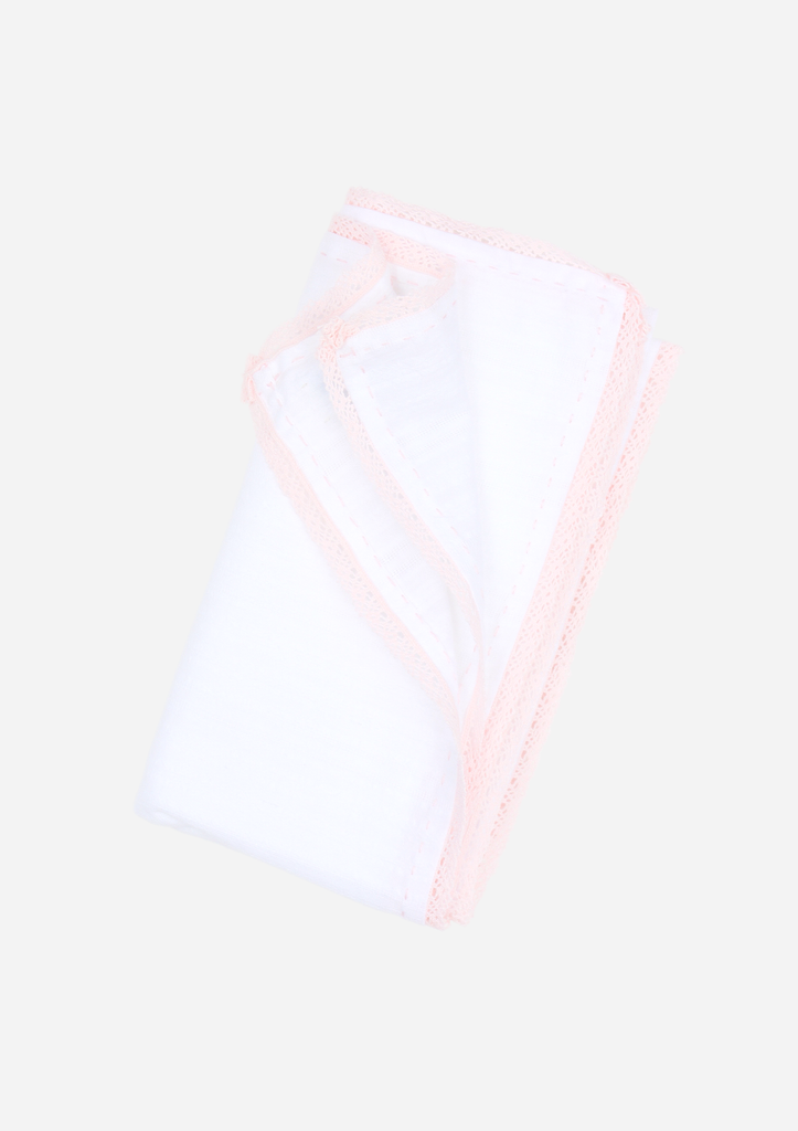 Classic Heirloom Swaddle, White with Pink Stitching and Lace