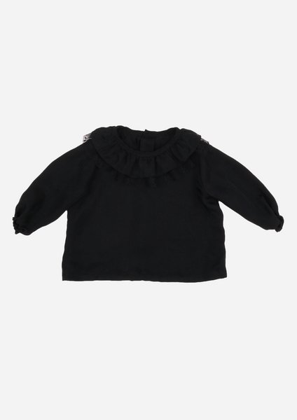 Heirloom Blouse with Ruffle Collar & Tulle Lace, Black