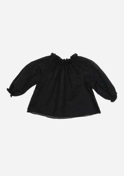 Double layered Voile Blouse, Black