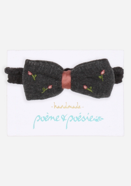Handmade Headband with Rose Buds, Anthracite