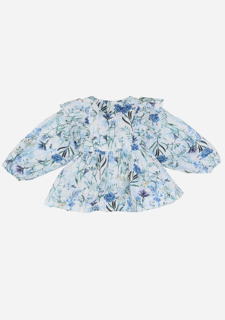 Long Sleeved Belted Top with Ruffles, Blue Floral