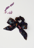 Heirloom Ribbon Scrunchie, Botanical Garden, Navy
