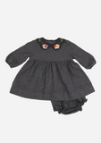 Embroidered Collar Dress, Charcoal