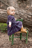 Smocked Heirloom Dress with Belt, Navy Plaid