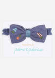 Handmade Headband with Flowers, Blue