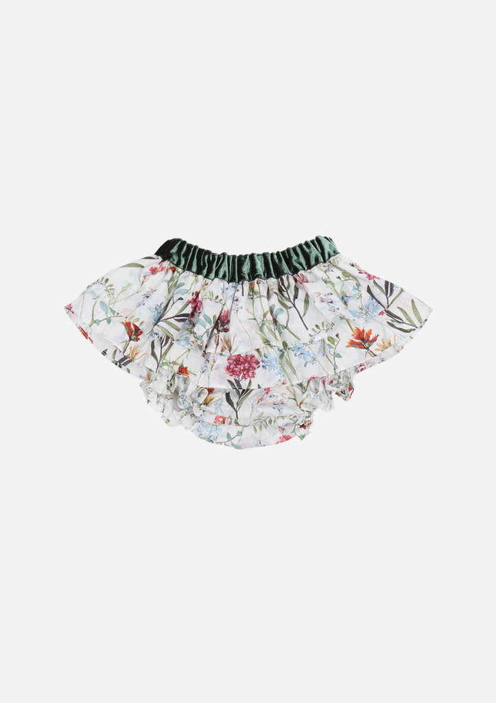 Floral Ruffle Bottom, Rust & Green