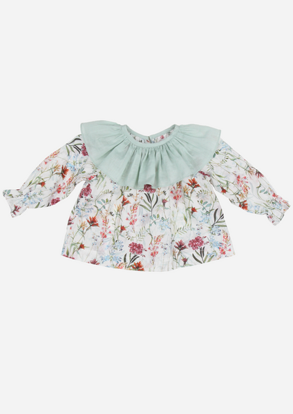 Ruffle Collar Floral Top, Rust & Green