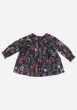 Petite Collar Center Smocked Top, Ink Floral