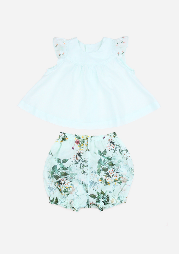 Flutter Sleeve Top with Rose Buds and Tropical Print Bloomers, Mint