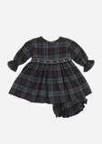 Smocked Dress with Belt, Moss Green Plaid