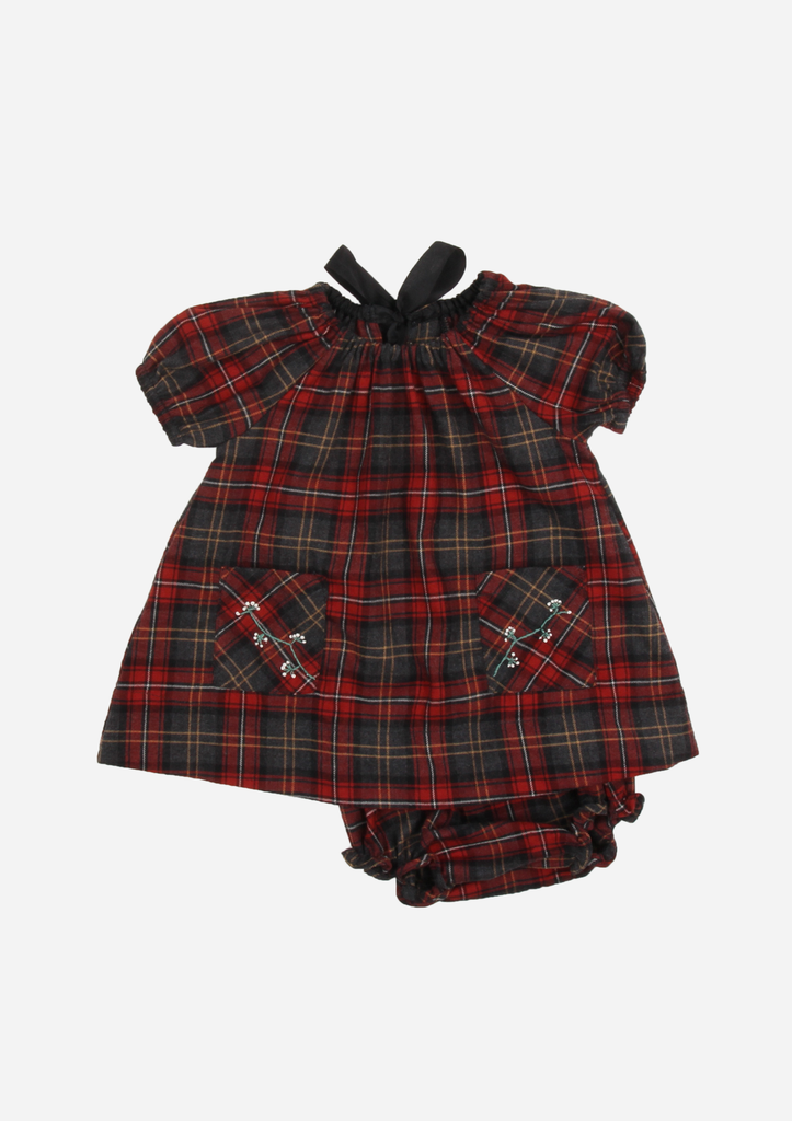 Plaid Dress with Embroidered Pockets and Bow, Ruby Red