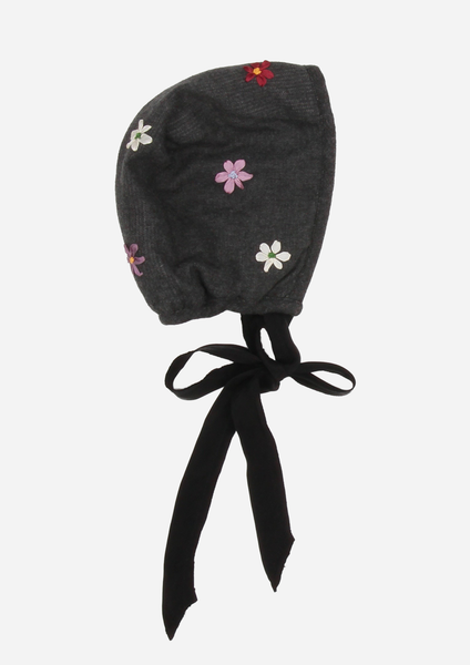 Silk Ribbon Flower Bonnet, Anthracite