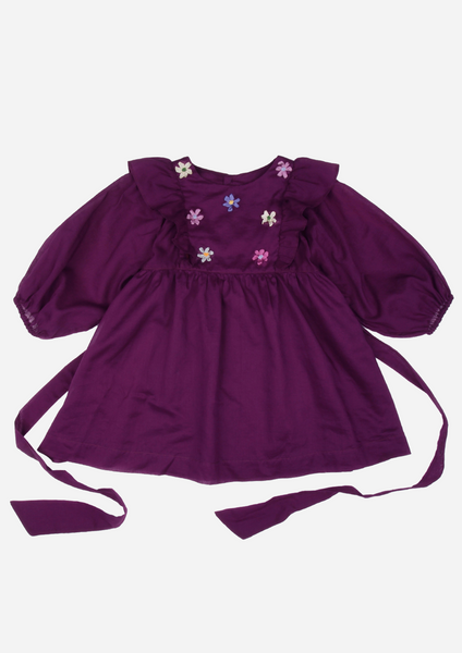 Ribbon Flower Heirloom Dress, Amethyst