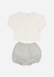 Scattered Roses Collar Top & Striped Bloomer, Cream & Stripe