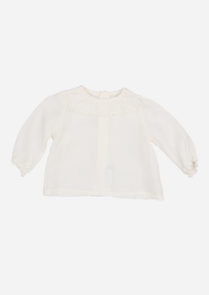 Heirloom Blouse with Ruffle Collar, Ivory