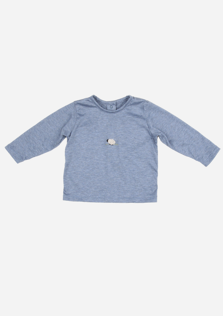 Long Sleeve Sheep Shirt, Vintage Blue