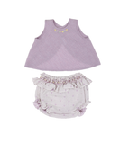 Sleeveless Top with Flowers and Smocked Bloomers, Purple