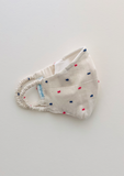 """Be Safe. Be Kind"" Printed Heirloom Mask - Red & Blue Swiss Dots"
