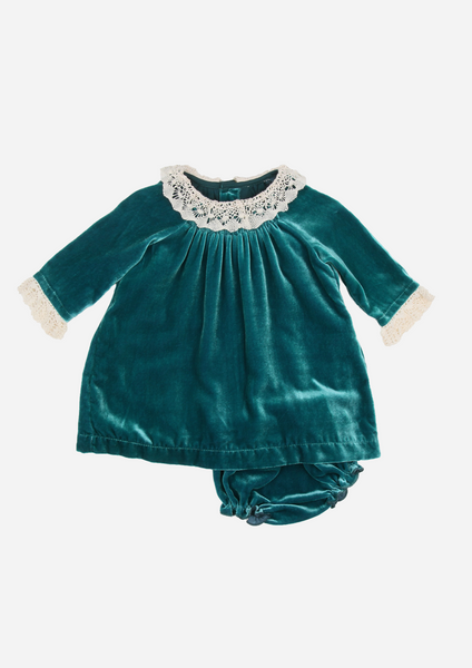 Silk Velvet Heirloom Dress with Lace Collar, Teal
