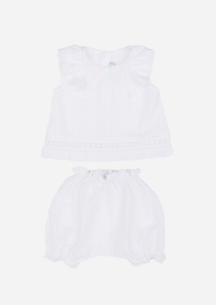 Ruffle Top and Bloomers with Lace Detail, White