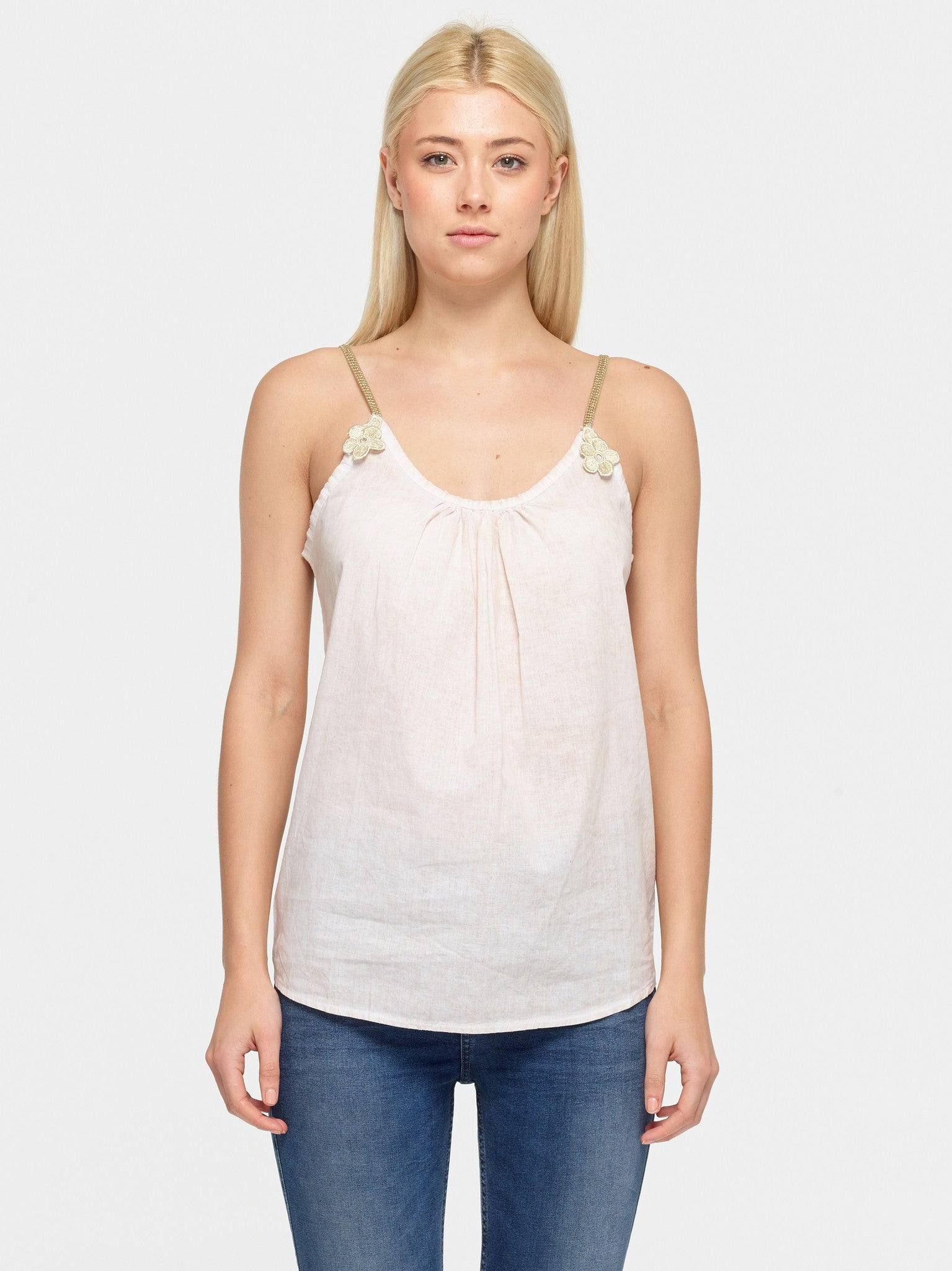Linen Daisy Flower Top