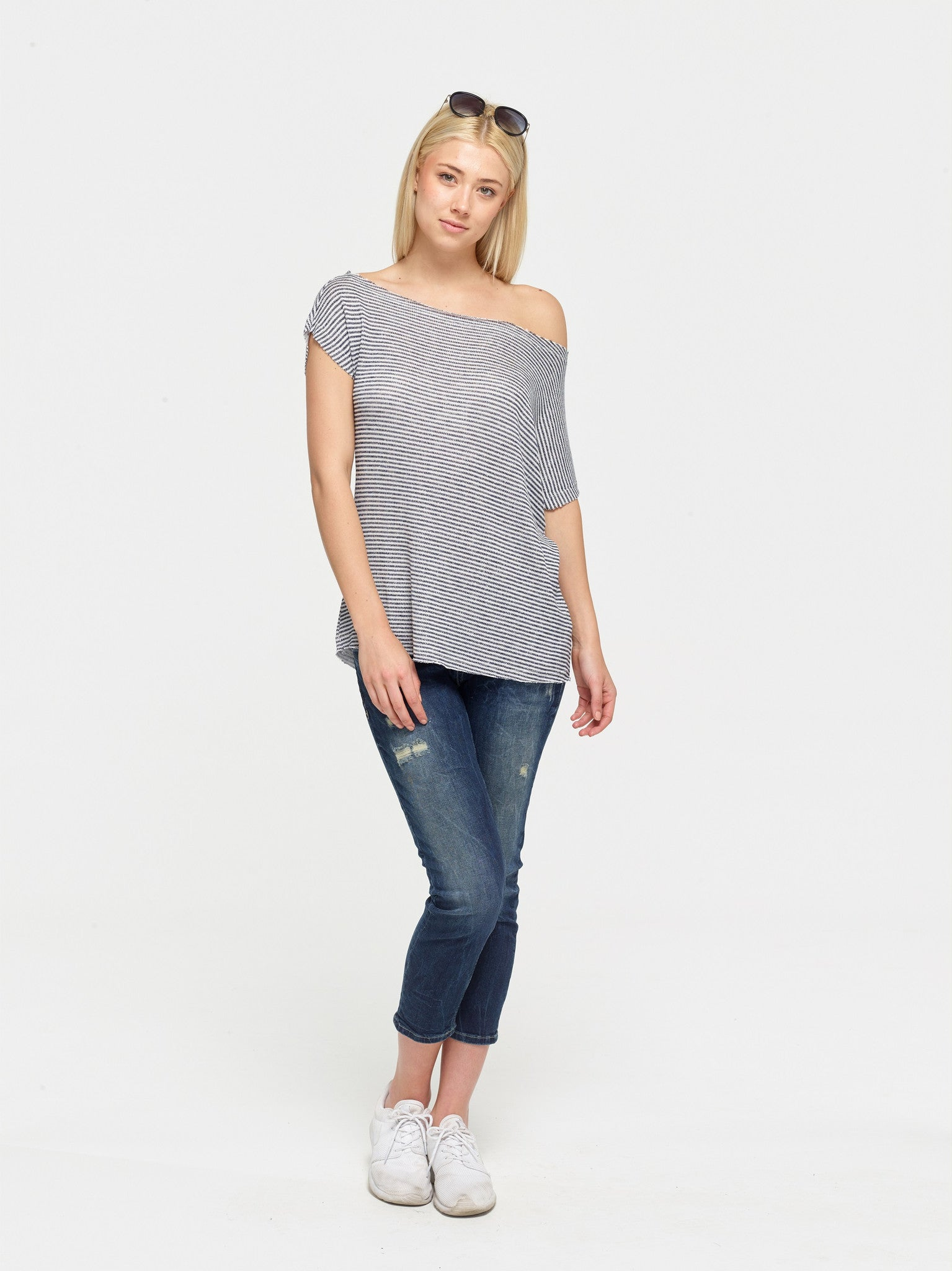 Stripe Wide Neck T-Shirt