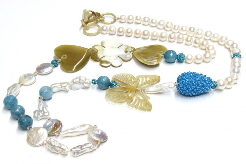 Heart and Butterfly Long Necklace - natural italian skincare www.MilanoCoronado.com