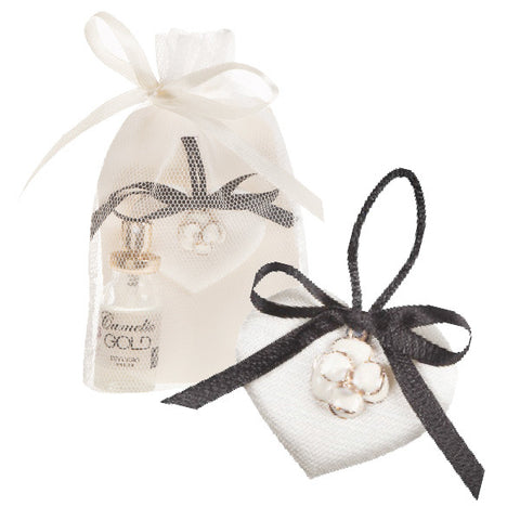 Dr. Taffi CHIC HEART CUSHION WITH CAMELIA GOLD SPRAY FRAGRANCE - natural italian skincare www.MilanoCoronado.com