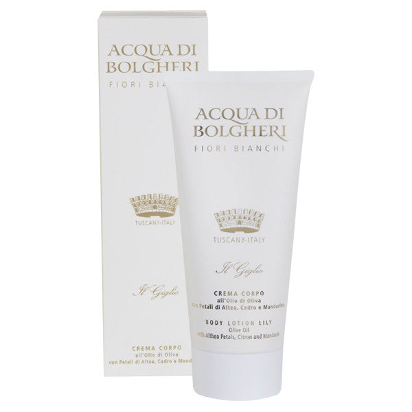 Dr. Taffi ACQUA DI BOLGHERI LILY AND WHITE FLOWERS BODY LOTION - natural italian skincare www.MilanoCoronado.com