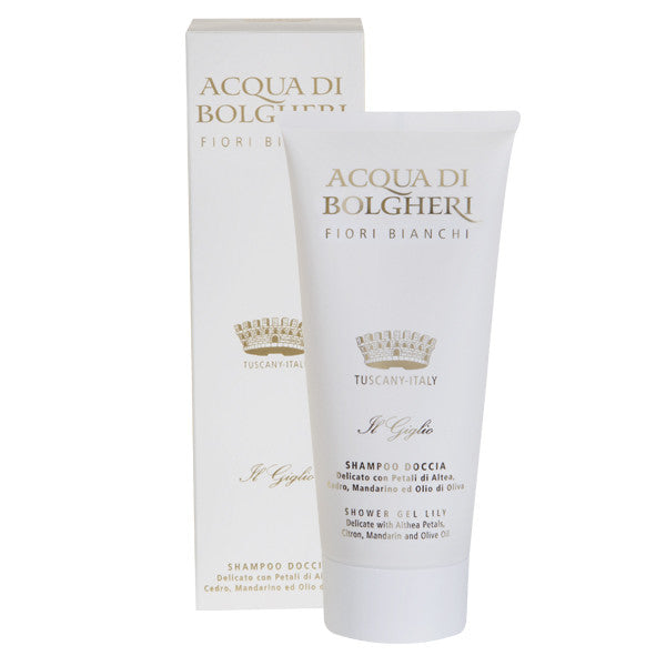 Dr. Taffi ACQUA DI BOLGHERI LILY AND WHITE FLOWERS SHOWER GEL - natural italian skincare www.MilanoCoronado.com