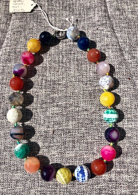 NECKLACE, MULTICOLOR, SHORT - natural italian skincare www.MilanoCoronado.com