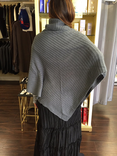 Poncho, Gray sequins in front with turtleneck - natural italian skincare www.MilanoCoronado.com
