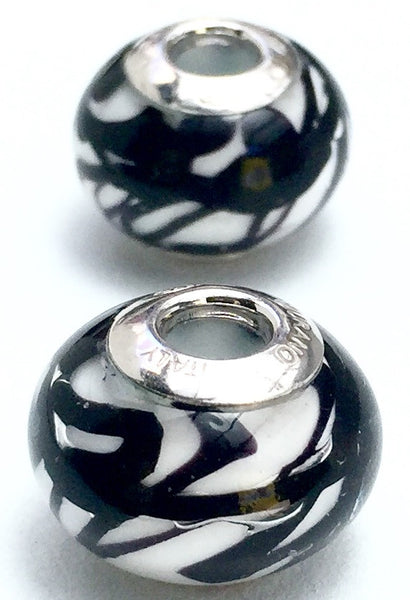 Pandora bead Savana black and white - natural italian skincare www.MilanoCoronado.com