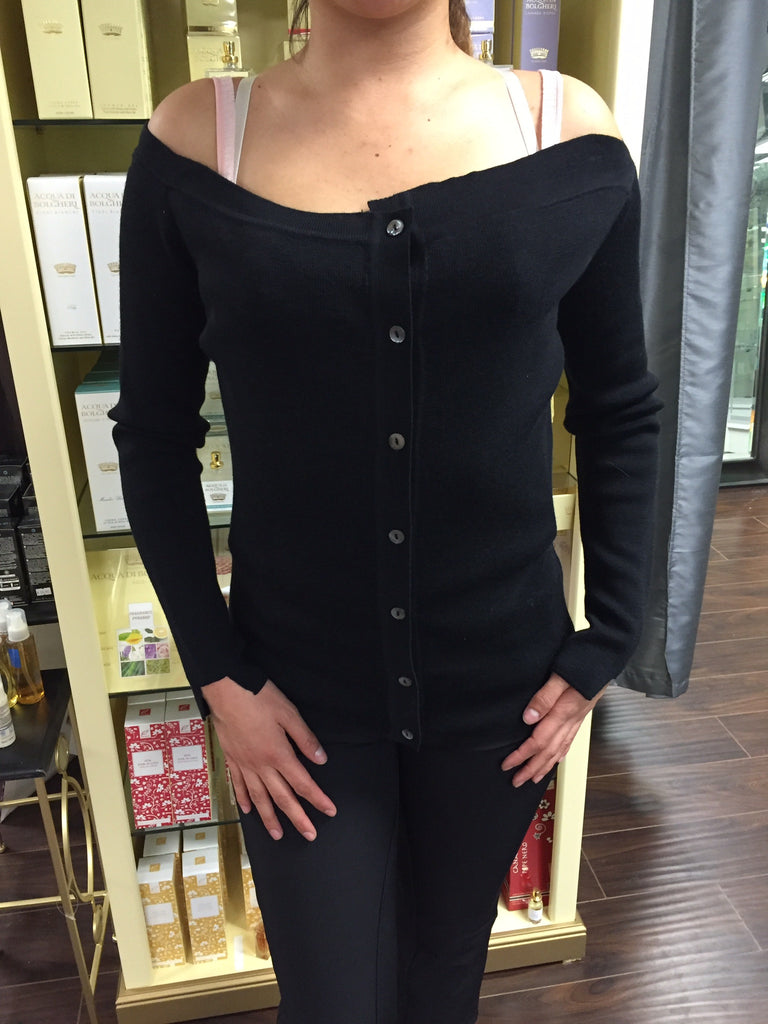 Blouse, Black, asymmetrical details, low shoulders, long sleeves - natural italian skincare www.MilanoCoronado.com